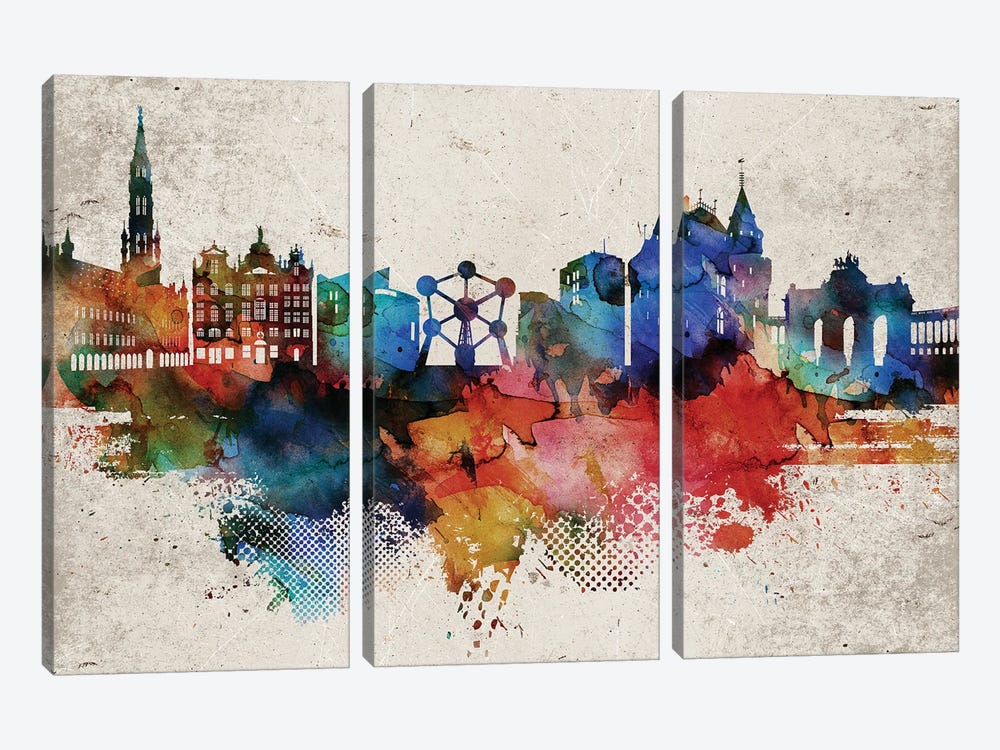 Brussels Abstract by WallDecorAddict 3-piece Canvas Art Print