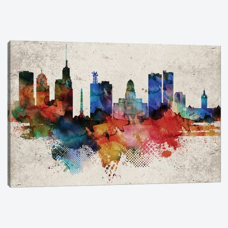Buffalo Abstract Canvas Print #WDA549} by WallDecorAddict Canvas Wall Art