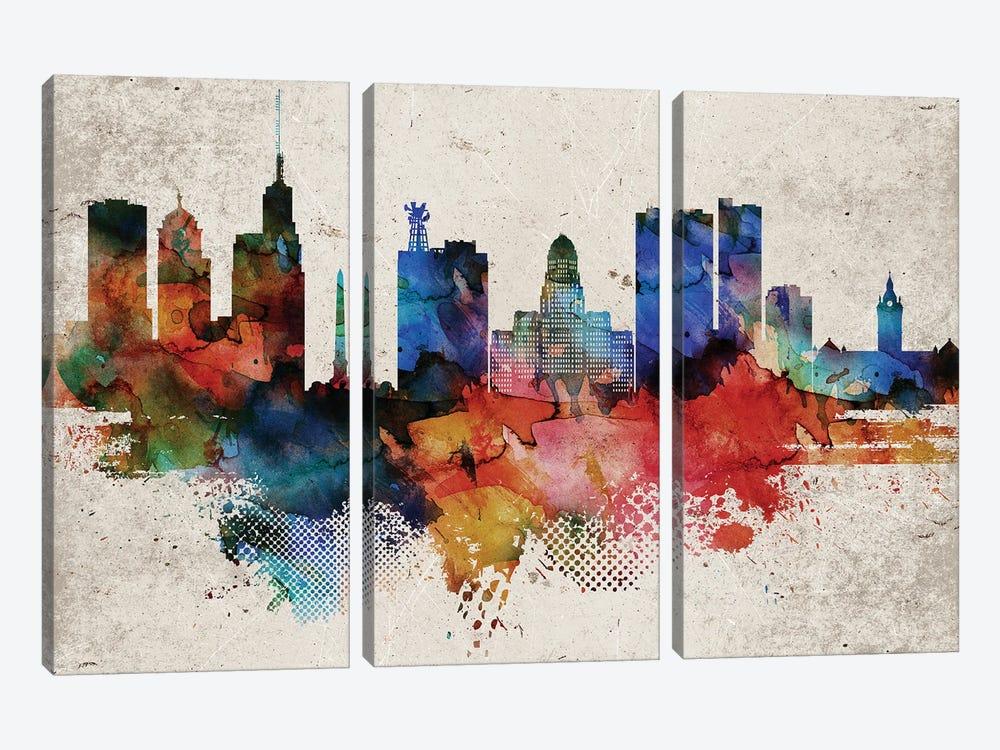 Buffalo Abstract by WallDecorAddict 3-piece Canvas Wall Art