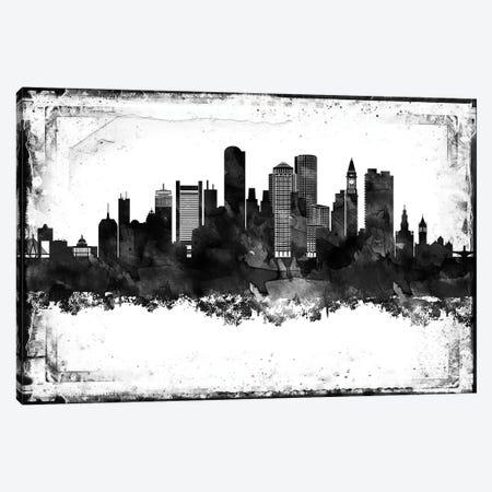 Boston Black And White Framed Skylines Canvas Print #WDA54} by WallDecorAddict Art Print