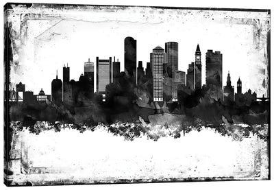 Boston Black And White Framed Skylines Canvas Art Print