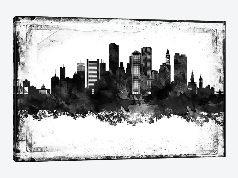 Boston Black And White Framed Skylines by WallDecorAddict 1-piece Canvas Art