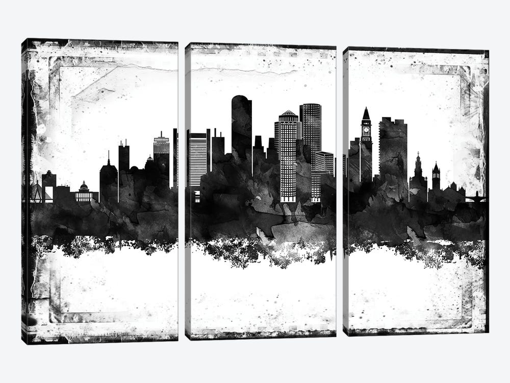 Boston Black And White Framed Skylines by WallDecorAddict 3-piece Canvas Wall Art