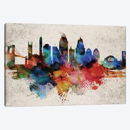 Cincinnati Abstract Canvas Print #WDA554} by WallDecorAddict Canvas Wall Art