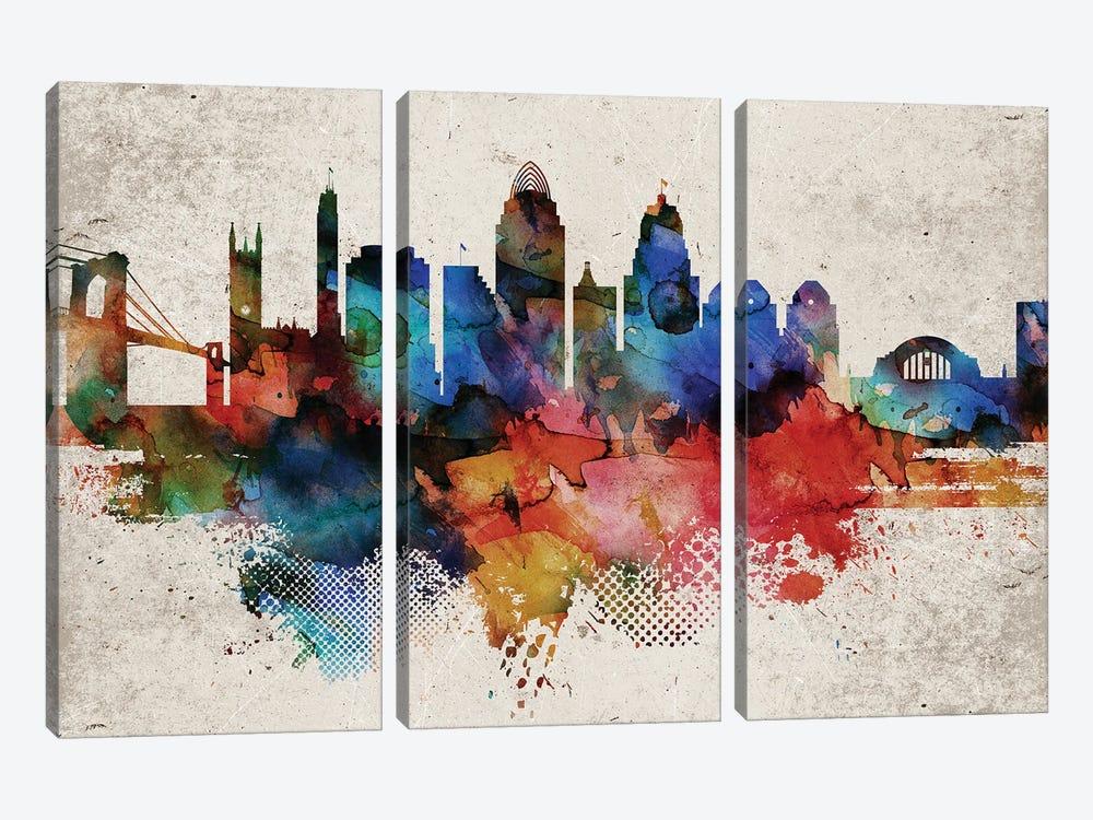 Cincinnati Abstract by WallDecorAddict 3-piece Canvas Wall Art