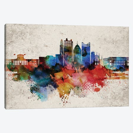 Columbus Abstract Canvas Print #WDA557} by WallDecorAddict Canvas Art