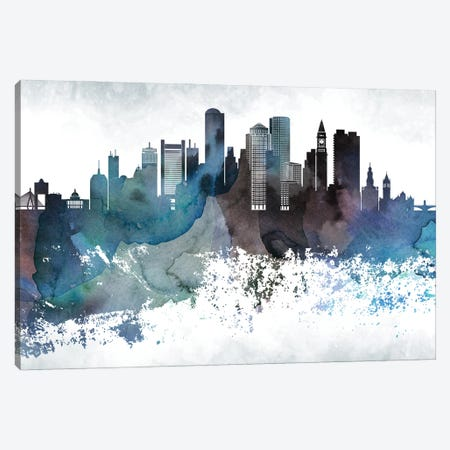 Boston Bluishl Skylines Canvas Print #WDA55} by WallDecorAddict Canvas Art Print