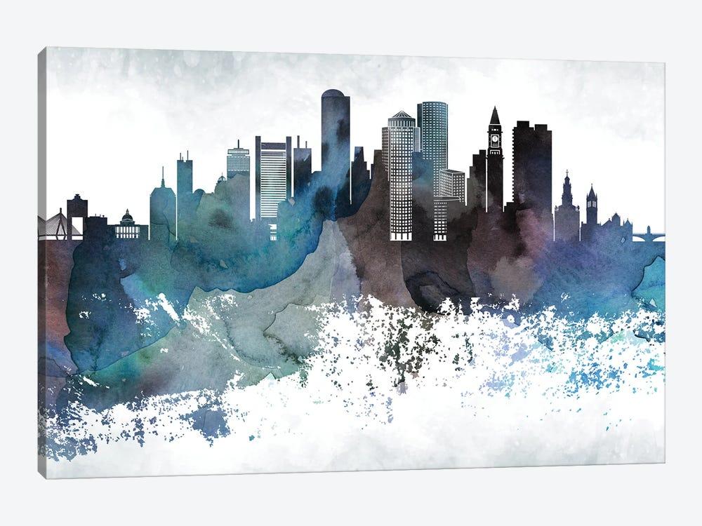 Boston Bluishl Skylines by WallDecorAddict 1-piece Canvas Print