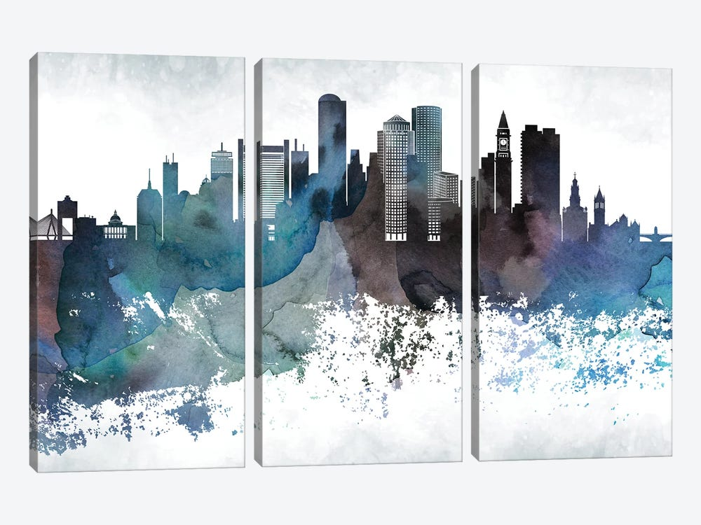 Boston Bluishl Skylines by WallDecorAddict 3-piece Canvas Print