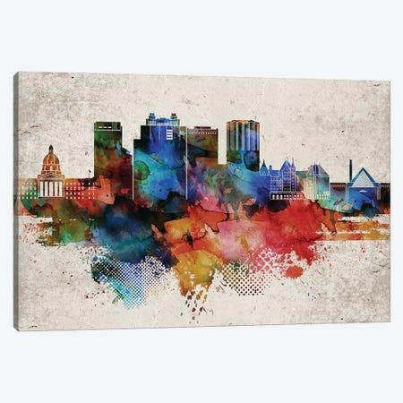 Edmonton Abstract Skyline Canvas Print #WDA565} by WallDecorAddict Canvas Print