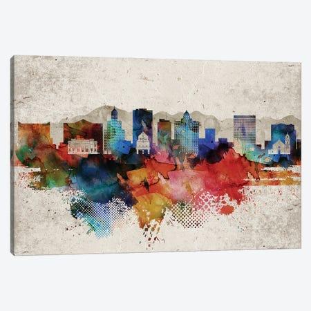 El Paso Abstract Skyline Canvas Print #WDA566} by WallDecorAddict Canvas Art Print