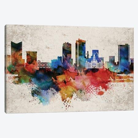 Fort worth Abstract Skyline Canvas Print #WDA567} by WallDecorAddict Art Print