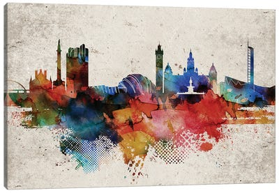 Glasgow Abstract Skyline Canvas Art Print