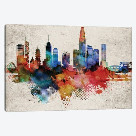 Hong Kong Skyline Canvas Print #WDA575} by WallDecorAddict Canvas Wall Art