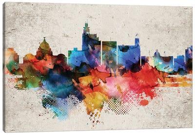 Jackson Mi Abstract Skyline Canvas Art Print