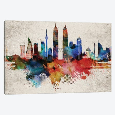 Kuala Lumpur Abstract Skyline Canvas Print #WDA579} by WallDecorAddict Canvas Art Print