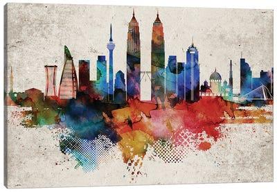 Kuala Lumpur Abstract Skyline Canvas Art Print