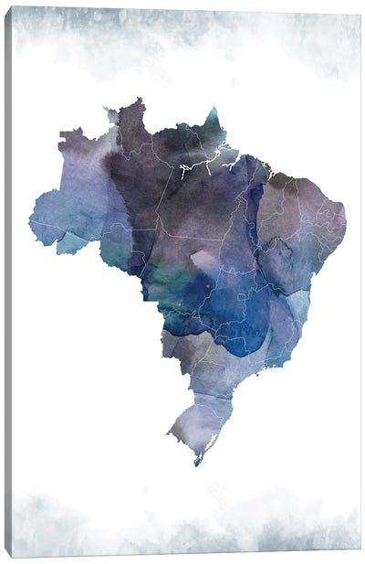 Brazil Bluish Map Canvas Art Print