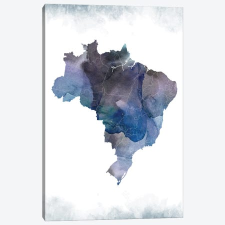 Brazil Bluish Map 3-Piece Canvas #WDA57} by WallDecorAddict Canvas Print