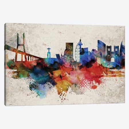 Lisbon Abstract Skyline Canvas Print #WDA583} by WallDecorAddict Canvas Artwork