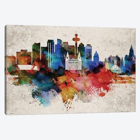 Liverpool Abstract Skyline Canvas Print #WDA584} by WallDecorAddict Canvas Art Print