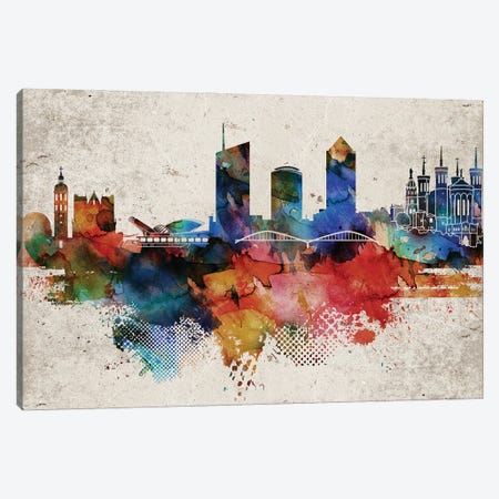 Lyon Abstract Skyline Canvas Print #WDA585} by WallDecorAddict Canvas Art Print