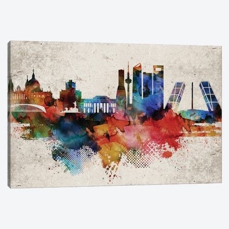 Madrid Abstract Skyline Canvas Print #WDA587} by WallDecorAddict Canvas Print