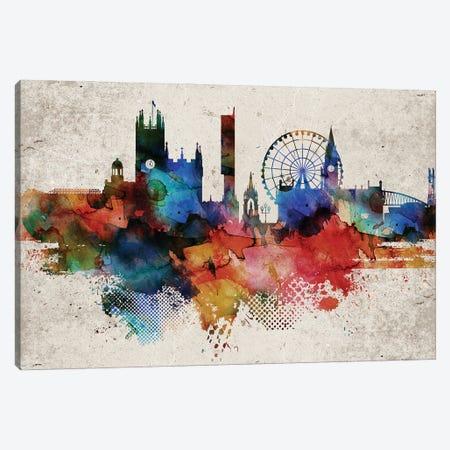 Manchester Abstract Skyline Canvas Print #WDA588} by WallDecorAddict Canvas Wall Art
