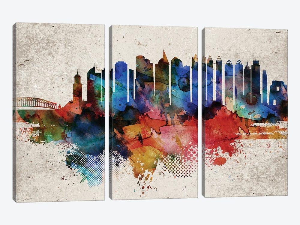 Manila Abstract Skyline by WallDecorAddict 3-piece Canvas Artwork