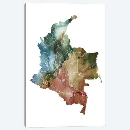 Brownish Colombia Map Canvas Print #WDA58} by WallDecorAddict Canvas Artwork