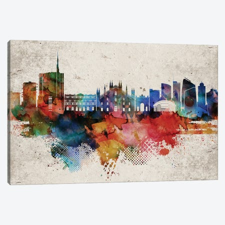 Milan Abstract Skyline Canvas Print #WDA591} by WallDecorAddict Canvas Print