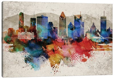 Montreal Abstract Skyline Canvas Art Print