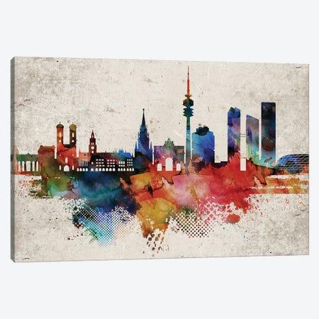 Munich Abstract Skyline Canvas Print #WDA595} by WallDecorAddict Canvas Wall Art