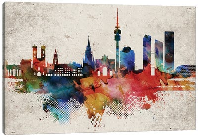 Munich Abstract Skyline Canvas Art Print