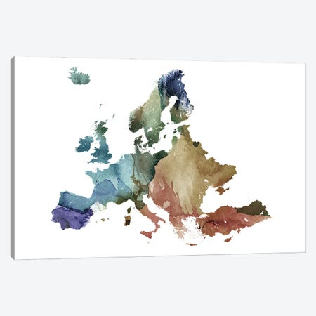 Brownish Europe Map Canvas Print #WDA59} by WallDecorAddict Canvas Artwork