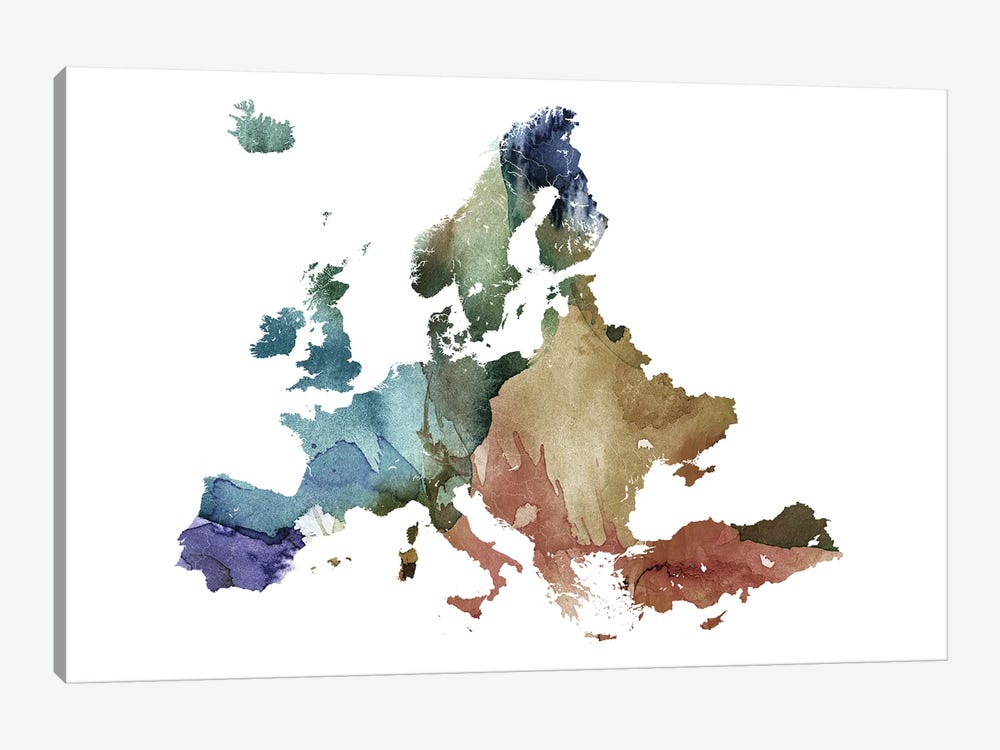 Brownish Europe Map by WallDecorAddict 1-piece Canvas Print