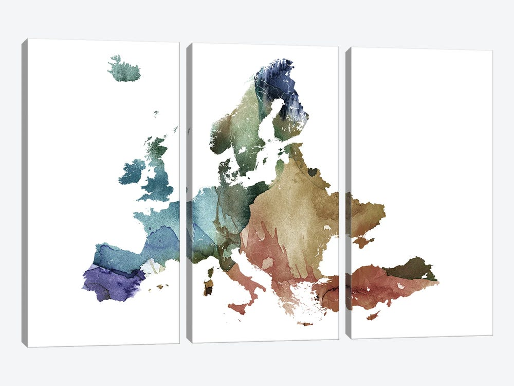 Brownish Europe Map by WallDecorAddict 3-piece Canvas Print