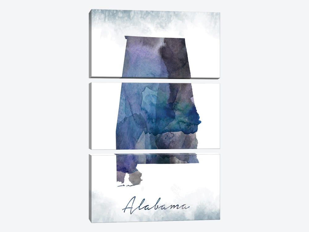 Alabama State Bluish by WallDecorAddict 3-piece Canvas Wall Art