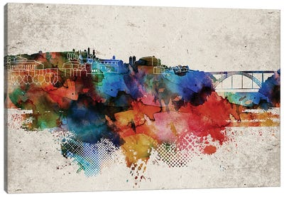 Oporto Abstract Skyline Canvas Art Print
