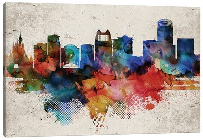 Orlando Abstract Skyline Canvas Art Print