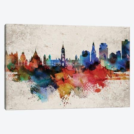 Ottawa Abstract Skyline Canvas Print #WDA604} by WallDecorAddict Canvas Artwork