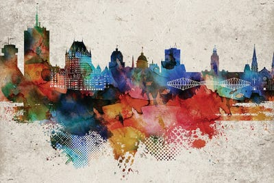 Quebec Abstract City Skyline CANVAS WALL ART Picture Print