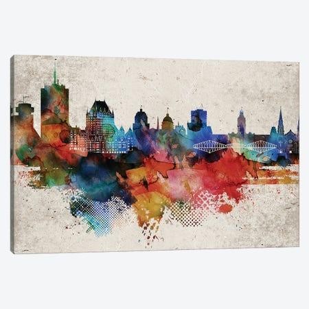 Quebec Abstract Skyline Canvas Print #WDA609} by WallDecorAddict Canvas Print
