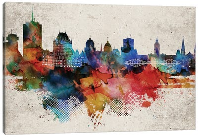 Quebec Abstract Skyline Canvas Art Print
