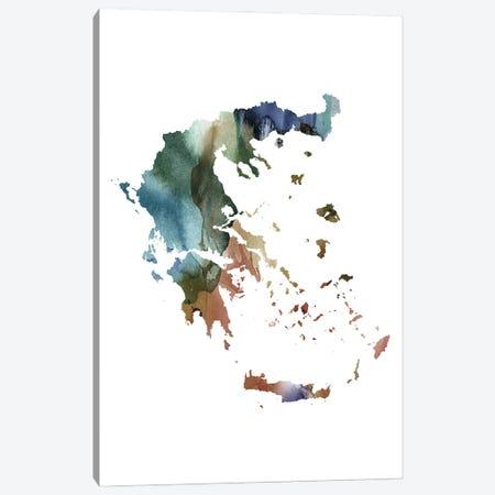 Brownish Greece Map Canvas Print #WDA60} by WallDecorAddict Canvas Art Print