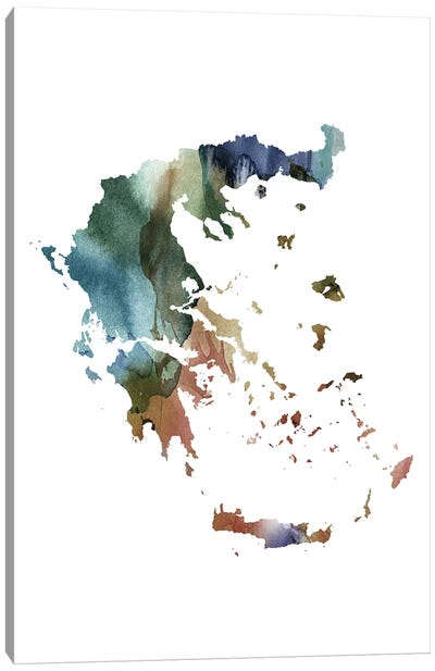 Brownish Greece Map Canvas Art Print