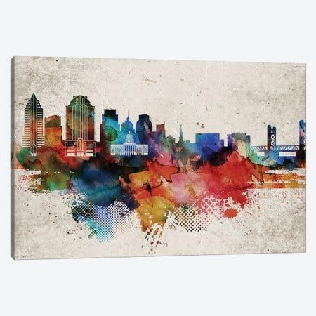 Sacramento Abstract Skyline Canvas Print #WDA614} by WallDecorAddict Canvas Art Print