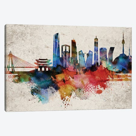 Seoul Abstract Skyline Canvas Print #WDA616} by WallDecorAddict Art Print