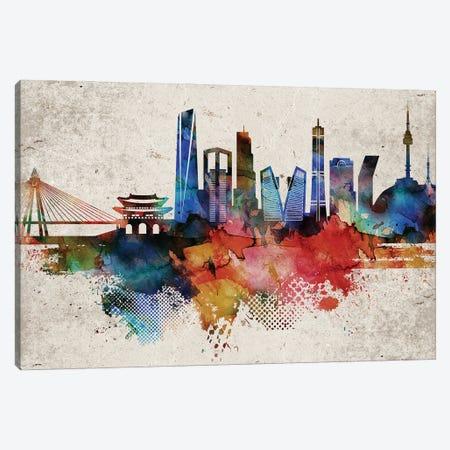 Seoul Abstract Skyline Canvas Print #WDA616} by WallDecorAddict Art Print