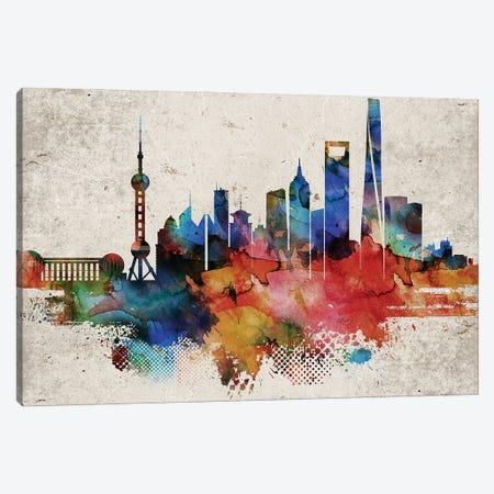 Shanghai Abstract Skyline Canvas Print #WDA617} by WallDecorAddict Canvas Art Print